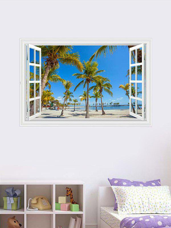 Palm Seascape 3D Fake Window Wall StickerHOME<br><br>Size: 60*90CM; Color: BLUE; Wall Sticker Type: 3D Wall Stickers; Functions: Decorative Wall Stickers; Theme: Beach Theme; Material: PVC; Feature: Removable; Weight: 0.3000kg; Package Contents: 1 x Wall Sticker;
