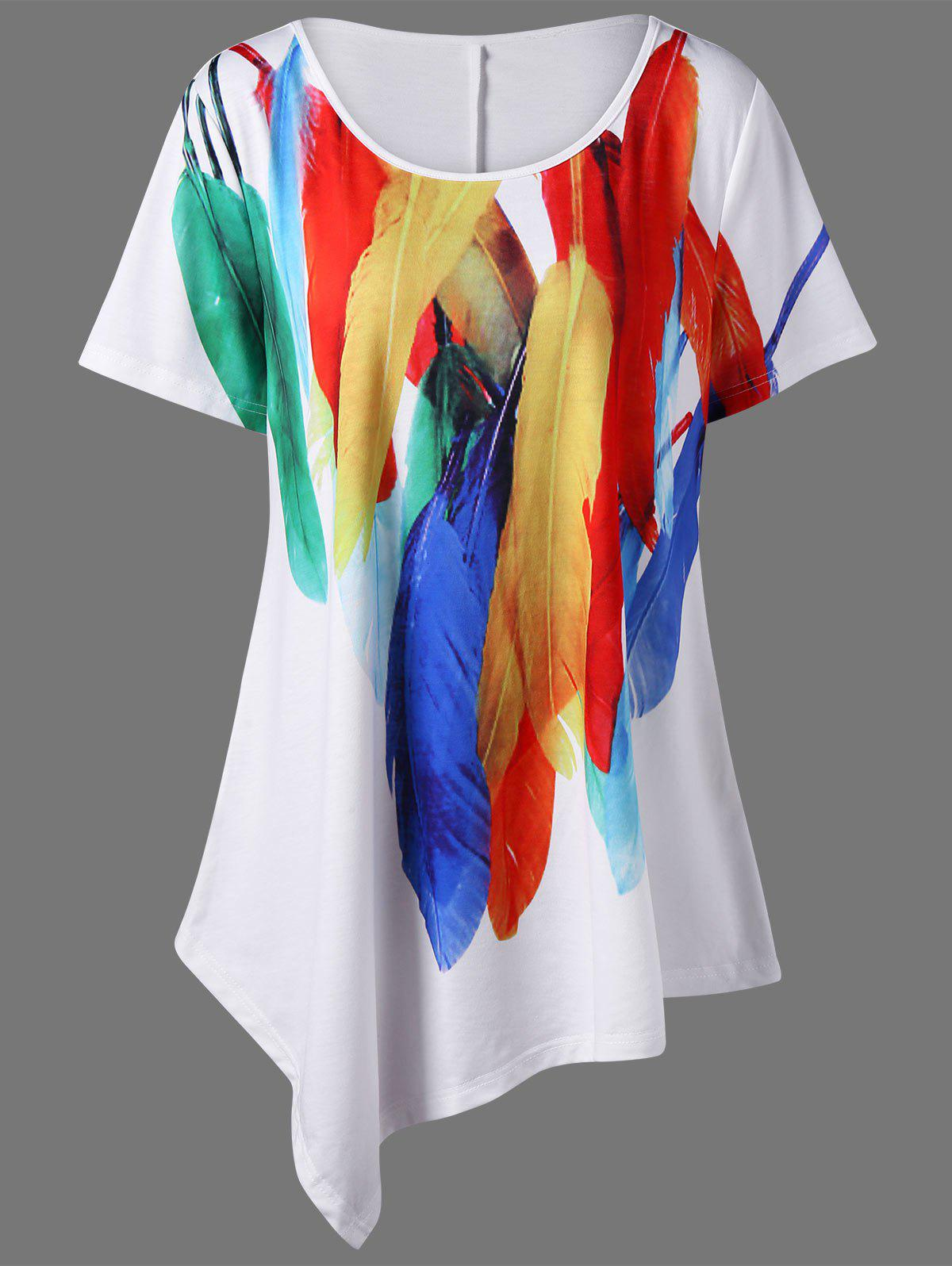 Plus Size Long Feather Print Asymmetric T-ShirtWOMEN<br><br>Size: 3XL; Color: WHITE; Material: Polyester,Spandex; Shirt Length: Long; Sleeve Length: Short; Collar: Scoop Neck; Style: Casual; Season: Summer; Pattern Type: Feather; Weight: 0.2900kg; Package Contents: 1 x T-Shirt;