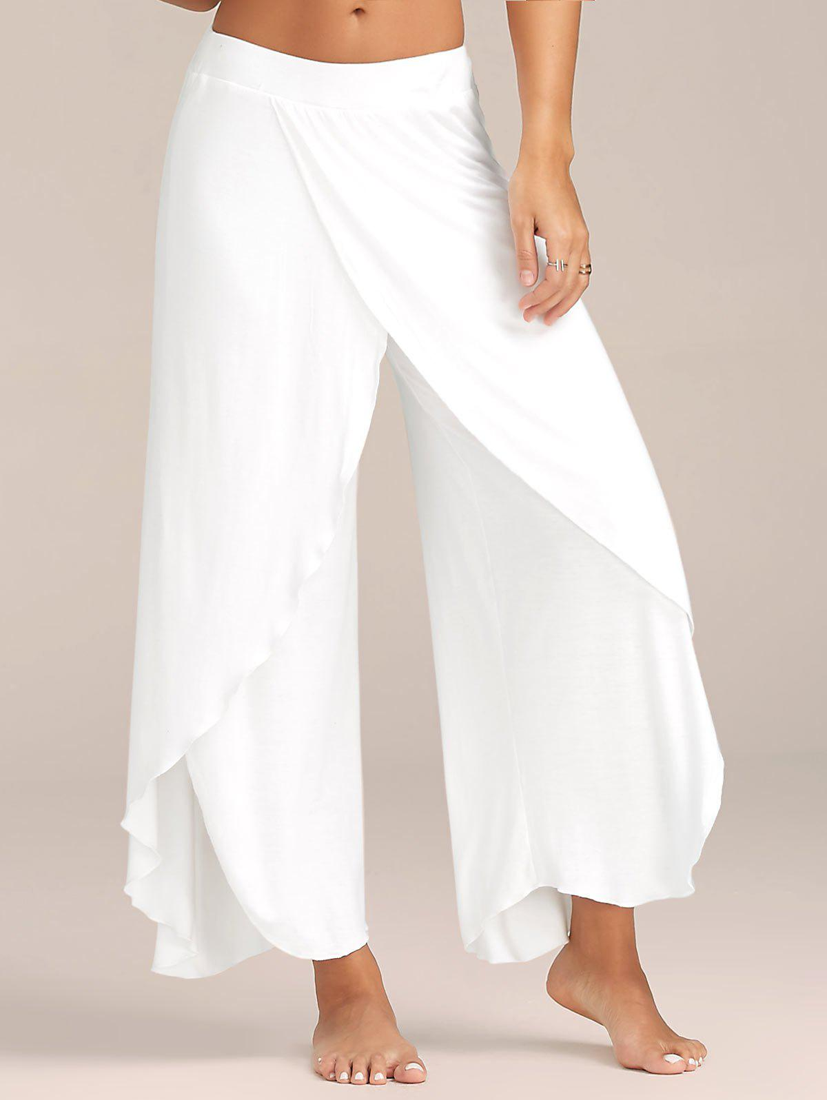 New Flowy Layered High Waisted Slit Palazzo Pants
