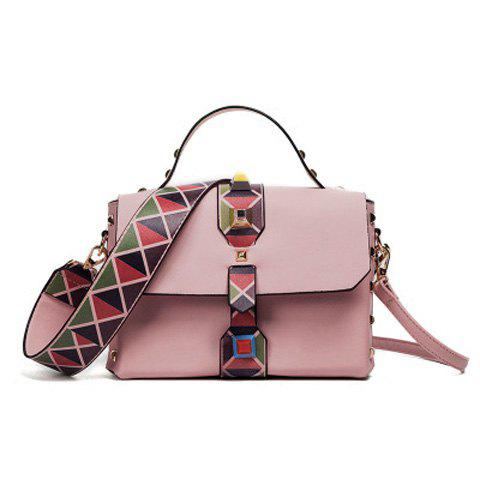 Fancy Studded Handbag with Geometric Print Strap