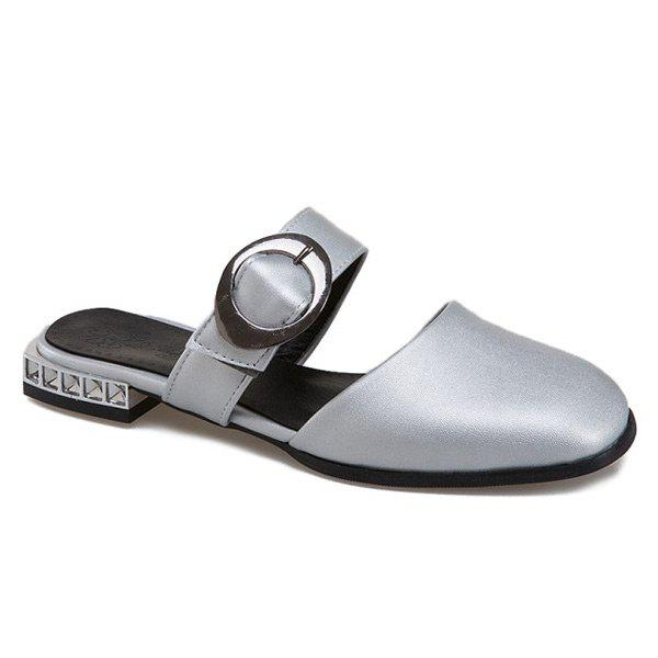 Shops Buckle Strap Square Toe Slippers