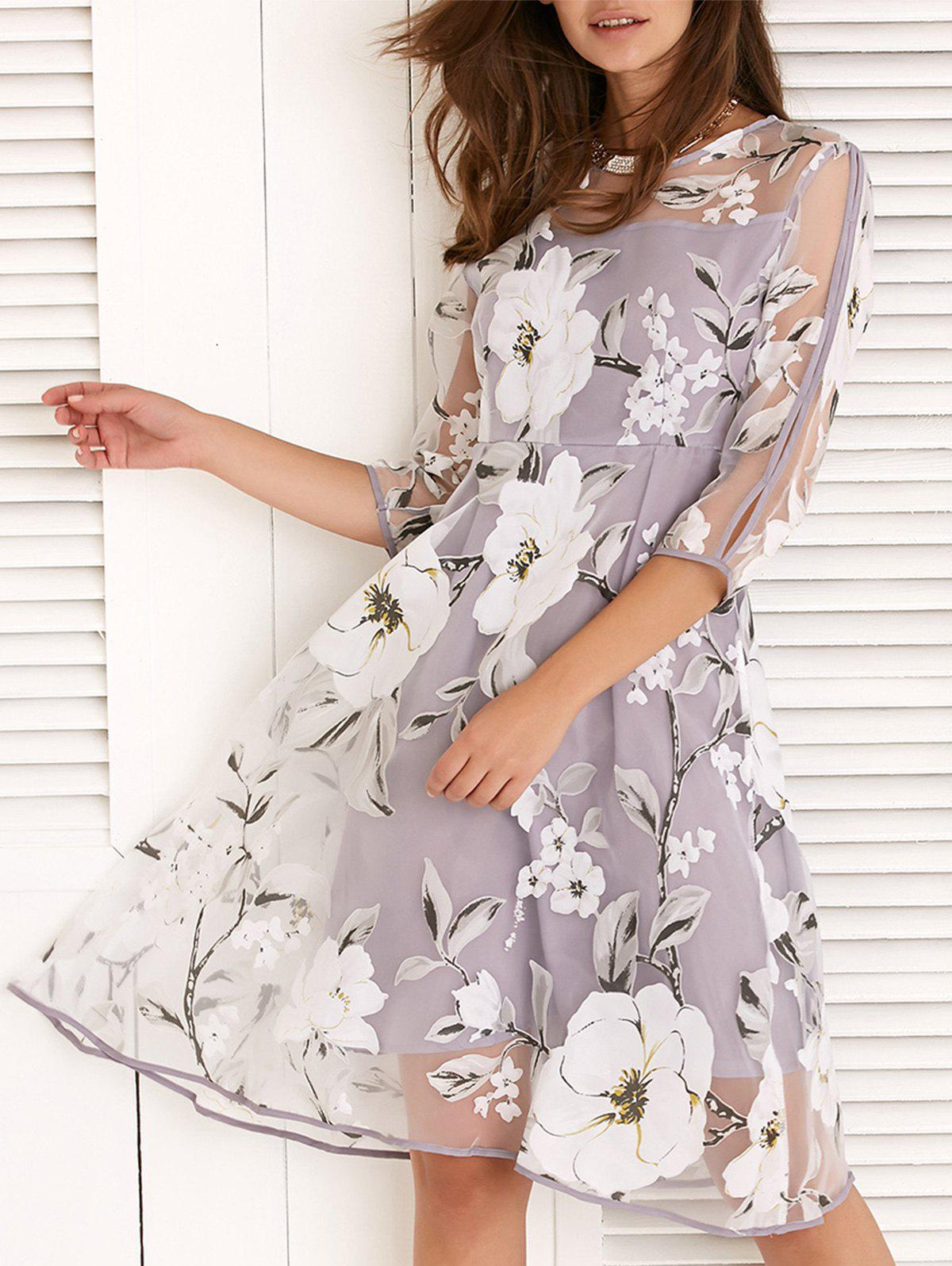 Outfits Round Neck 3/4 Sleeve Floral Print Spliced Dress