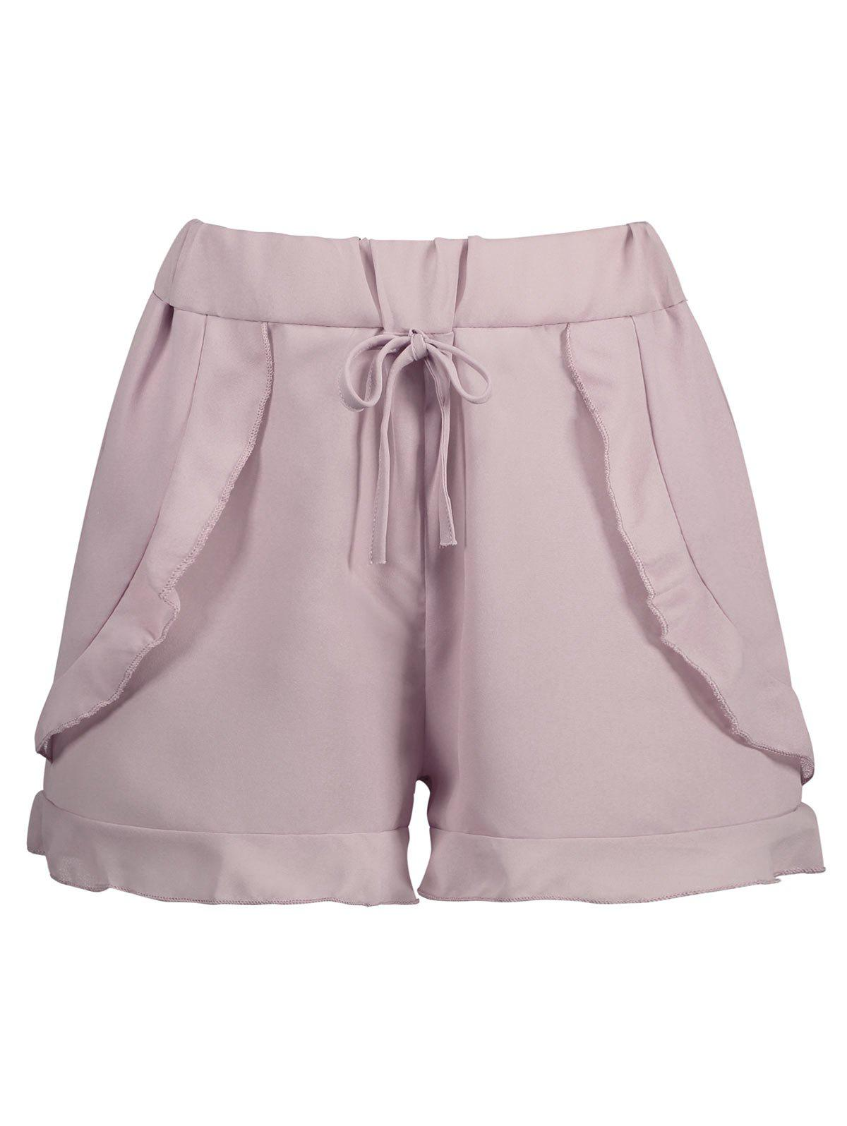 Hot Elastic Waist Chiffon Ruffled Shorts