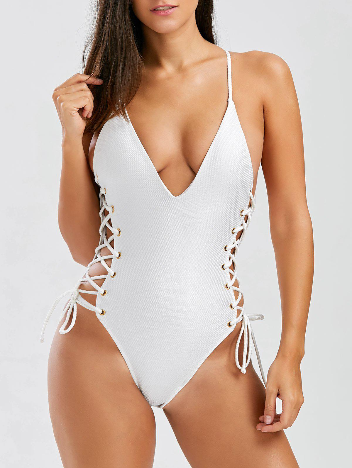 Lace Up Open Back One-Piece SwimwearWOMEN<br><br>Size: S; Color: OFF-WHITE; Swimwear Type: One Piece; Gender: For Women; Material: Polyester; Bra Style: Unlined; Support Type: Wire Free; Neckline: Spaghetti Straps; Pattern Type: Solid; Waist: High Waisted; Elasticity: Micro-elastic; Weight: 0.3600kg; Package Contents: 1 x Swimwear;