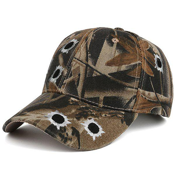 Camouflage Shothole Embroidered Baseball HatACCESSORIES<br><br>Color: COLORMIX; Hat Type: Baseball Caps; Group: Adult; Gender: For Men; Style: Fashion; Pattern Type: Others; Material: Polyester; Circumference (CM): 56-60CM; Weight: 0.1100kg; Package Contents: 1 x Hat;