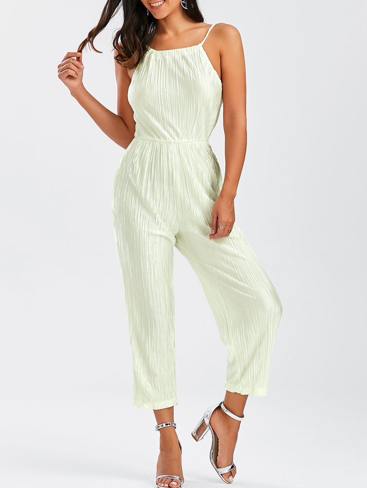 Buy Open Back Pleated Cami Jumpsuit