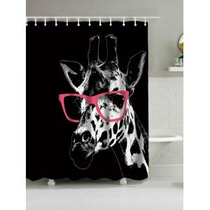 Giraffe with Glasses Waterproof Polyester Shower Curtain - Black - W71 Inch * L71 Inch