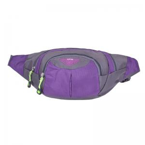 Outdoor Multipocket Nylon Waterproof Waist Bag - Purple - 44
