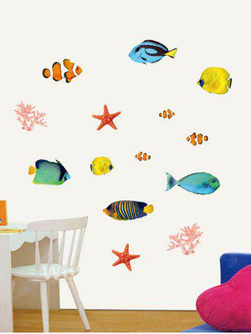 Fancy Cartoon Fish Starfish Coral Bedroom Decoration Wall Sticker - COLORMIX  Mobile