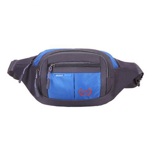 Shop Outdoor Plaid Waterproof Nylon Waist Bag BLUE