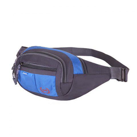 Hot Outdoor Plaid Waterproof Nylon Waist Bag - BLUE  Mobile