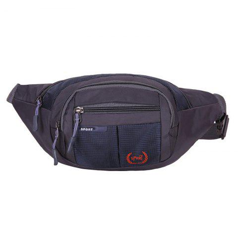 Hot Outdoor Plaid Waterproof Nylon Waist Bag DEEP BLUE
