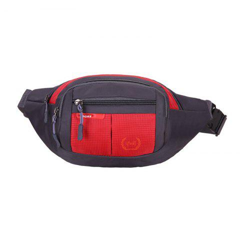 Shops Outdoor Plaid Waterproof Nylon Waist Bag RED