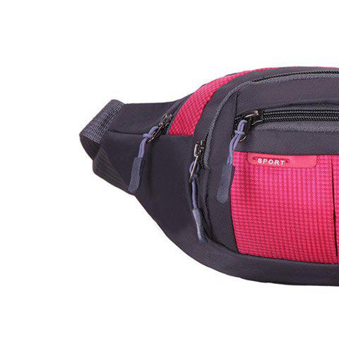 Store Outdoor Plaid Waterproof Nylon Waist Bag - ROSE RED  Mobile