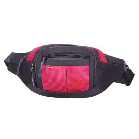 Outdoor Plaid Waterproof Nylon Waist Bag - Rose Red - 40