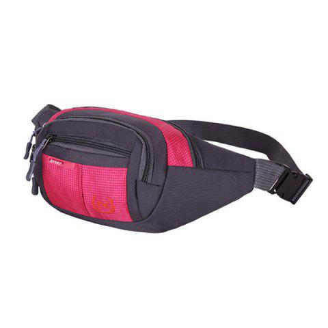 New Outdoor Plaid Waterproof Nylon Waist Bag - ROSE RED  Mobile
