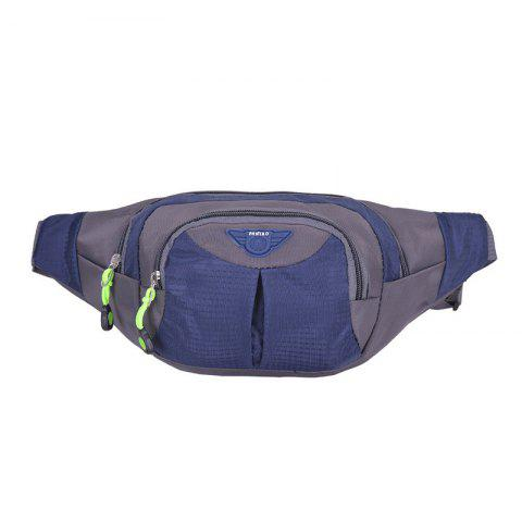 Affordable Outdoor Multipocket Nylon Waterproof Waist Bag - CERULEAN  Mobile