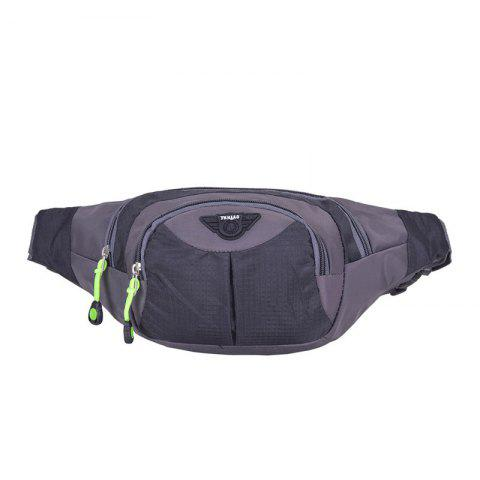 Outdoor Multipocket Nylon Waterproof Waist Bag - Black - 39