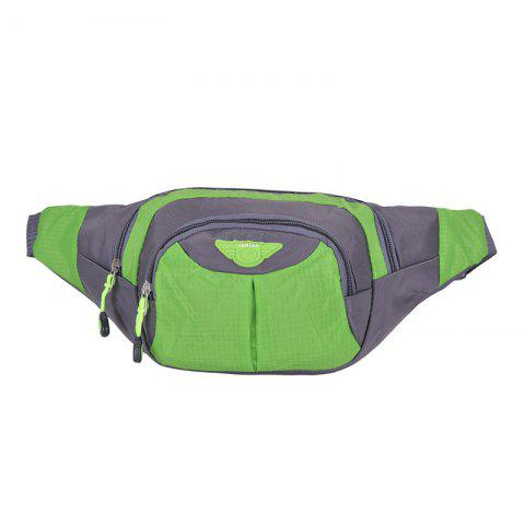 Outdoor Multipocket Nylon Waterproof Waist Bag - Green