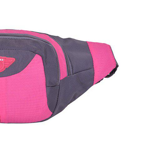 Outfits Outdoor Multipocket Nylon Waterproof Waist Bag - ROSE RED  Mobile