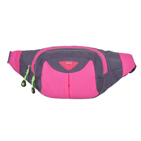 Unique Outdoor Multipocket Nylon Waterproof Waist Bag ROSE RED
