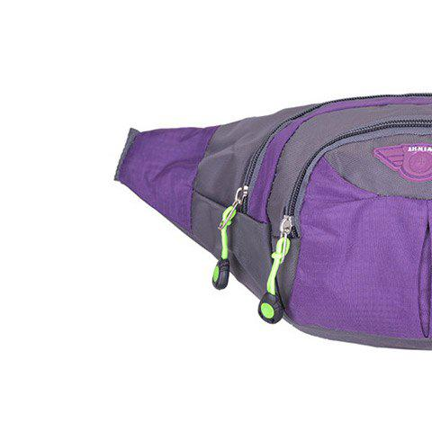 Outfits Outdoor Multipocket Nylon Waterproof Waist Bag - PURPLE  Mobile