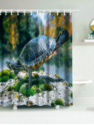 Doing Yoga Tortoise Waterproof Fabric Shower Curtain
