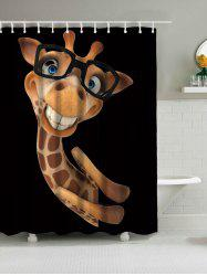 Wear Glasses Smile Giraffe Waterproof Bath Curtain