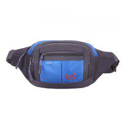 Outdoor Plaid Waterproof Nylon Waist Bag - BLUE