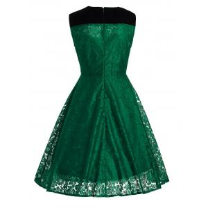 Short Lace Skater Formal Swing Cocktail Dress - GREEN S