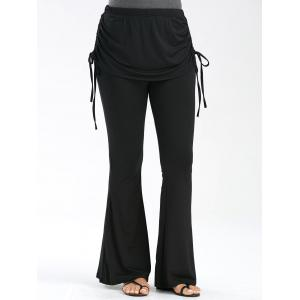 Ruched Lace Up High Waisted Flare Pants