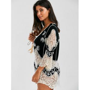 Crochet Lace Insert Plunge Beach Cover Up - BLACK ONE SIZE