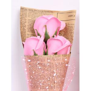 Simulation Rose Soap Flowers Bouquet Festival Gift - PINK