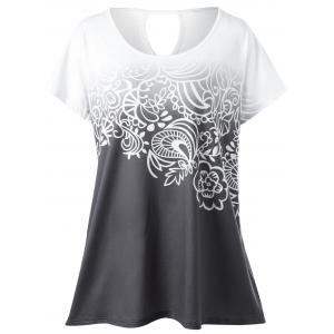 Plus Size Floral Ombre Tee - White Grey - 5xl