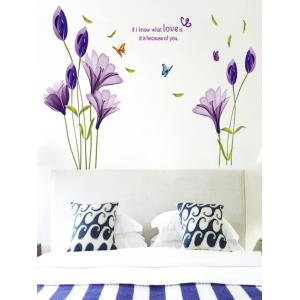 Butterflies Flower Letter Bedroom Decorative Wall Decals - Purple - 50*70cm