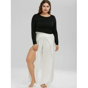 Plus Size High Slit Wide Leg Pants - WHITE 2XL