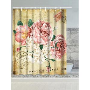 Vintage Big Flower Water Resistant Polyester Shower Curtain - Light Brown - W59 Inch * L71 Inch