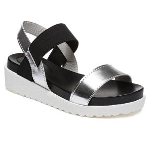 Faux Leather Elastic Band Sandals - Silver - 39