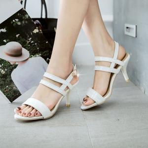 Patent Leather Mid Heel Sandals - WHITE 39