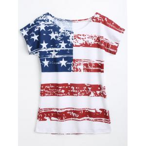 Distressed American Flag T-shirt - White - 2xl