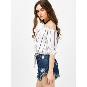 Off The Shoulder Striped Top - WHITE S