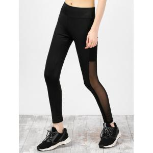 High Waist Mesh Insert Running Leggings - Black - M