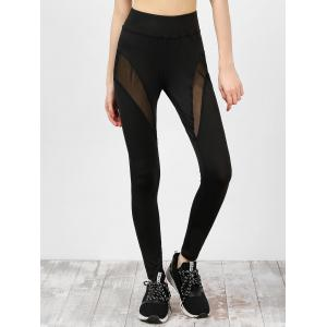 High Waist Mesh Panel Gym Leggings - Black - L