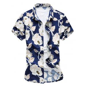 Floral Printed Short Sleeves Hawaiian Shirt