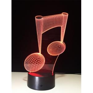 3D Visual Color Change Music Note Shape Touch Night Light - Transparent