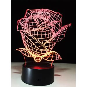 Color Change 3D Visual Rose Shape Touch Night Light - Transparent