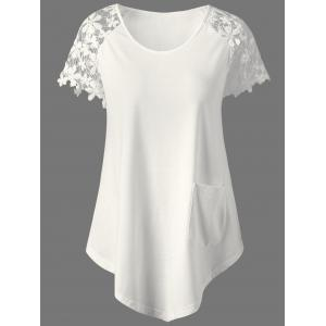 Lace Panel Single Pocket T-Shirt