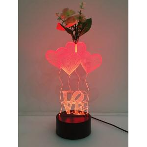 Flower Decorated 3D Heart Touch Color Change Night Light - Transparent