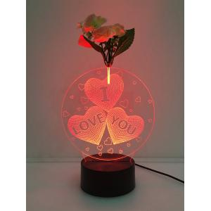 3D Heart I Love You Flower Decorated LED Color Change Night Light - Transparent - W60 Inch * L84 Inch