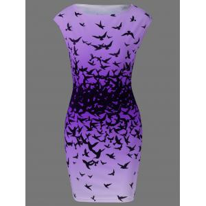 Bodycon Cap Sleeve Bird Print Mini Dress